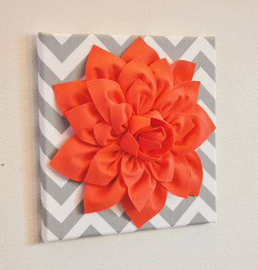 "Two Wall Flower Home Decor -Coral Dahlia on Gray and White Chevron 12 x12"" Canvas Wall Art- Baby Nursery Wall Decor- - Daisy Manor"