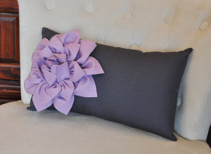 Lilac Flower on  Charcoal Lumbar - Daisy Manor
