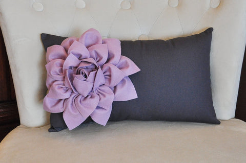 Lilac Flower on  Charcoal Lumbar