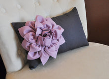 Load image into Gallery viewer, Lilac Flower on  Charcoal Lumbar - Daisy Manor