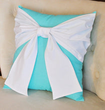 Load image into Gallery viewer, White Bow on Bright Aqua Throw  Pillow - Daisy Manor