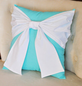 White Bow on Bright Aqua Throw  Pillow - Daisy Manor