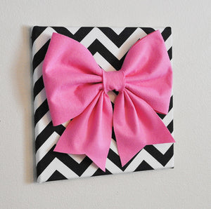 "Wall Decor - Large Pink Bow on Black and White Chevron 12 x12"" Canvas Wall Art- Baby Nursery Wall Decor- Zig Zag - Daisy Manor"