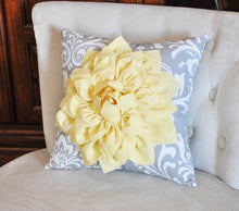 Load image into Gallery viewer, Mint Green Dahlia on Gray Damask Pillow - Decorative Pillow - Ozborne Pillow - - Daisy Manor