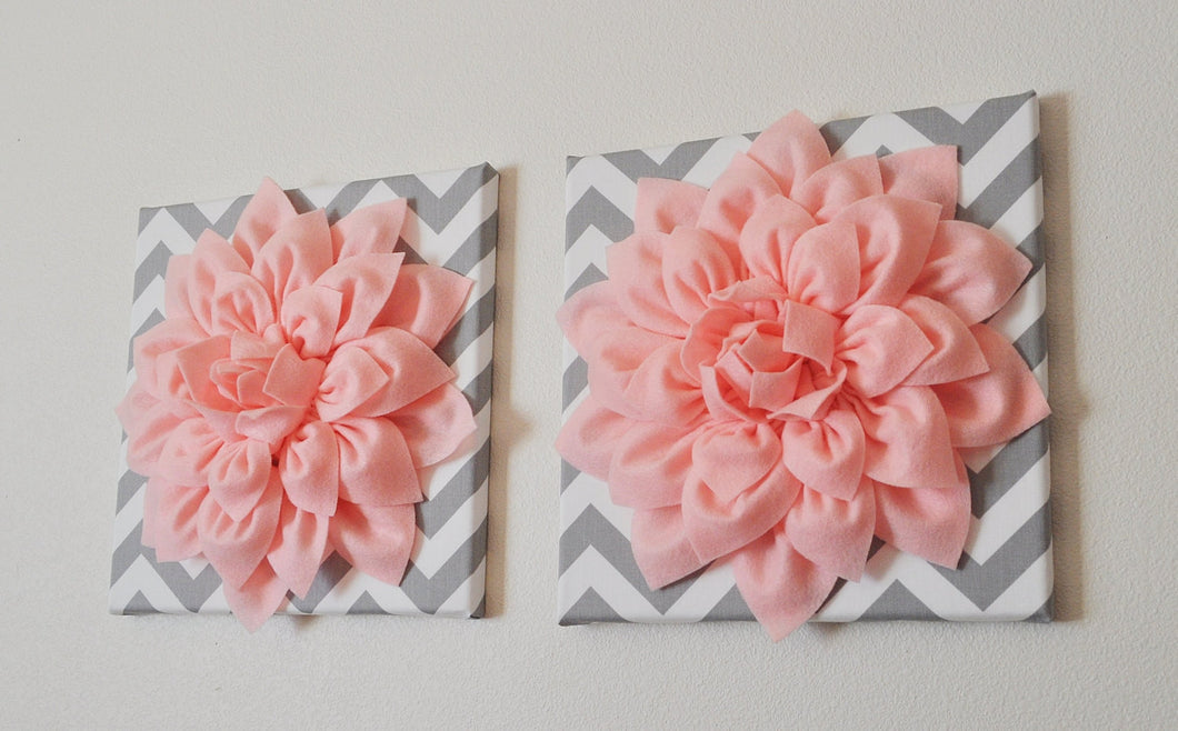 Two Wall Flowers -Light Pink Dahlia on Gray and White Chevron 12 x12