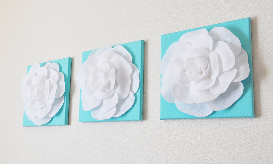 Set Of Three White Roses on Bright Aqua12 x12