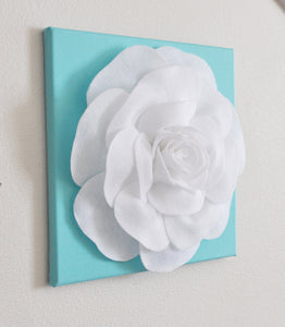 "Rose Wall Hanging- Light Pink Rose on Neutral Gray Tarika 12 x12"" Canvas Wall Art - Nursery Decor - Daisy Manor"
