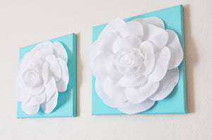 "Set Of Three White Roses on Bright Aqua12 x12"" Canvas - Daisy Manor"