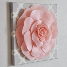 "Load image into Gallery viewer, Rose Wall Hanging- Light Pink Rose on Neutral Gray Tarika 12 x12"" Canvas Wall Art - Nursery Decor - Daisy Manor"