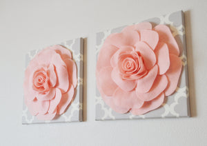 "Two Wall Flowers -Light Pink Roses on Neutral Gray Tarika Print 12 x12"" Canvases Wall Art- Baby Nursery Wall Decor- - Daisy Manor"