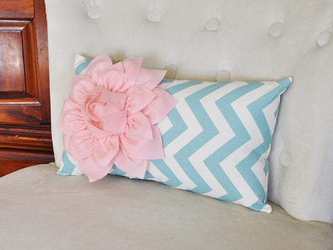 Chevron Lumbar Pillow Light Pink Dahlia on Blue and Natural Zig Zag Lumbar Pillow 9 x 16- Rustic Shabby Chic