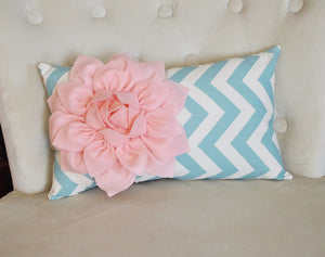 Chevron Lumbar Pillow Light Pink Dahlia on Blue and Natural Zig Zag Lumbar Pillow 9 x 16- Rustic Shabby Chic - Daisy Manor