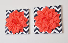 "Load image into Gallery viewer, Two Wall Flower -Coral Dahlia on Navy and White Chevron 12 x12"" Canvas Wall Art- Flower Wall Art - Daisy Manor"