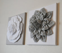"Load image into Gallery viewer, Two Rose Wall Hangings -White Rose on Solid Light Gray 12 x12"" Canvases Wall Art- 3D Felt Flower - Daisy Manor"