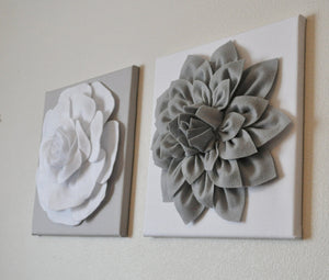 "Two Rose Wall Hangings -White Rose on Solid Light Gray 12 x12"" Canvases Wall Art- 3D Felt Flower - Daisy Manor"