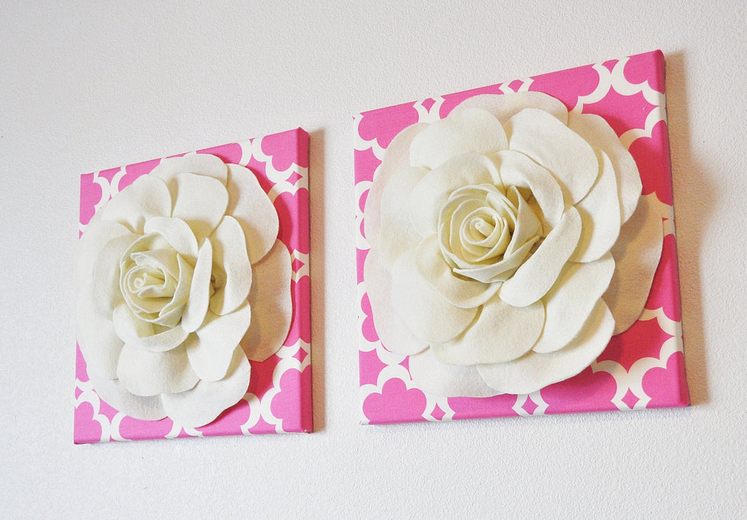 Ivory Roses on Pink and Ivory Tarika Print 12 x12