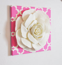 "Load image into Gallery viewer, Nursery Wall Decor -Ivory Rose on Pink Tarika 12 x12"" Canvas Wall Art- Flower Wall Art - Daisy Manor"