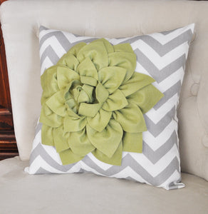 Sage Green Dahlia on Gray and White Zigzag Pillow -Chevron Pillow- - Daisy Manor