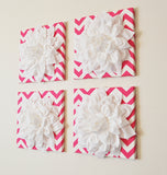 THREE White Dahlia Flowers on Hot Pink and White Chevron Canvases