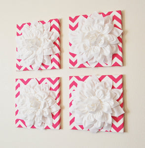 "Wall Decor -Set Of Four White Dahlias on Hot Pink and White Chevron 12 x12"" Canvases Wall Art- 3D Felt Flower - Daisy Manor"