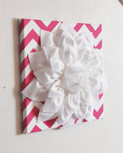 "Load image into Gallery viewer, Wall Decor -Set Of Four White Dahlias on Hot Pink and White Chevron 12 x12"" Canvases Wall Art- 3D Felt Flower - Daisy Manor"