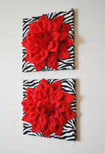 "Load image into Gallery viewer, Two Wall Flowers -Red Dahlia Flowers on Black and White Zebra Print 12 x12"" Canvas Wall Art- Baby Nursery Wall Decor- - Daisy Manor"