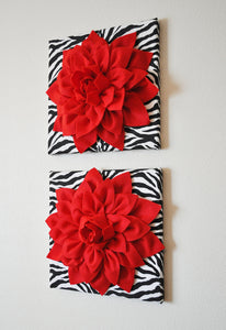 "Two Wall Flowers -Red Dahlia Flowers on Black and White Zebra Print 12 x12"" Canvas Wall Art- Baby Nursery Wall Decor- - Daisy Manor"