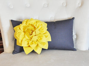 Grey Pillows - White Dahlia on Charcoal Gray Lumbar Pillow - Decorative Pillow - - Daisy Manor