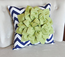 Load image into Gallery viewer, Sage Decorative Throw Pillow Sage Green Dahlia on Navy and White Chevron Pillow -Home Decor- - Daisy Manor