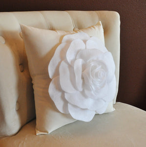 White Rose on Cream Pillow 14x14 - Daisy Manor