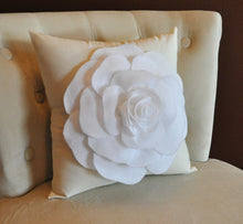 Load image into Gallery viewer, White Rose on Cream Pillow 14x14 - Daisy Manor