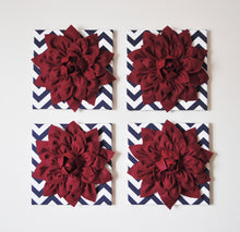 Load image into Gallery viewer, FOUR Ruby Red Dahlias on Navy and White Chevron Canvases - Daisy Manor