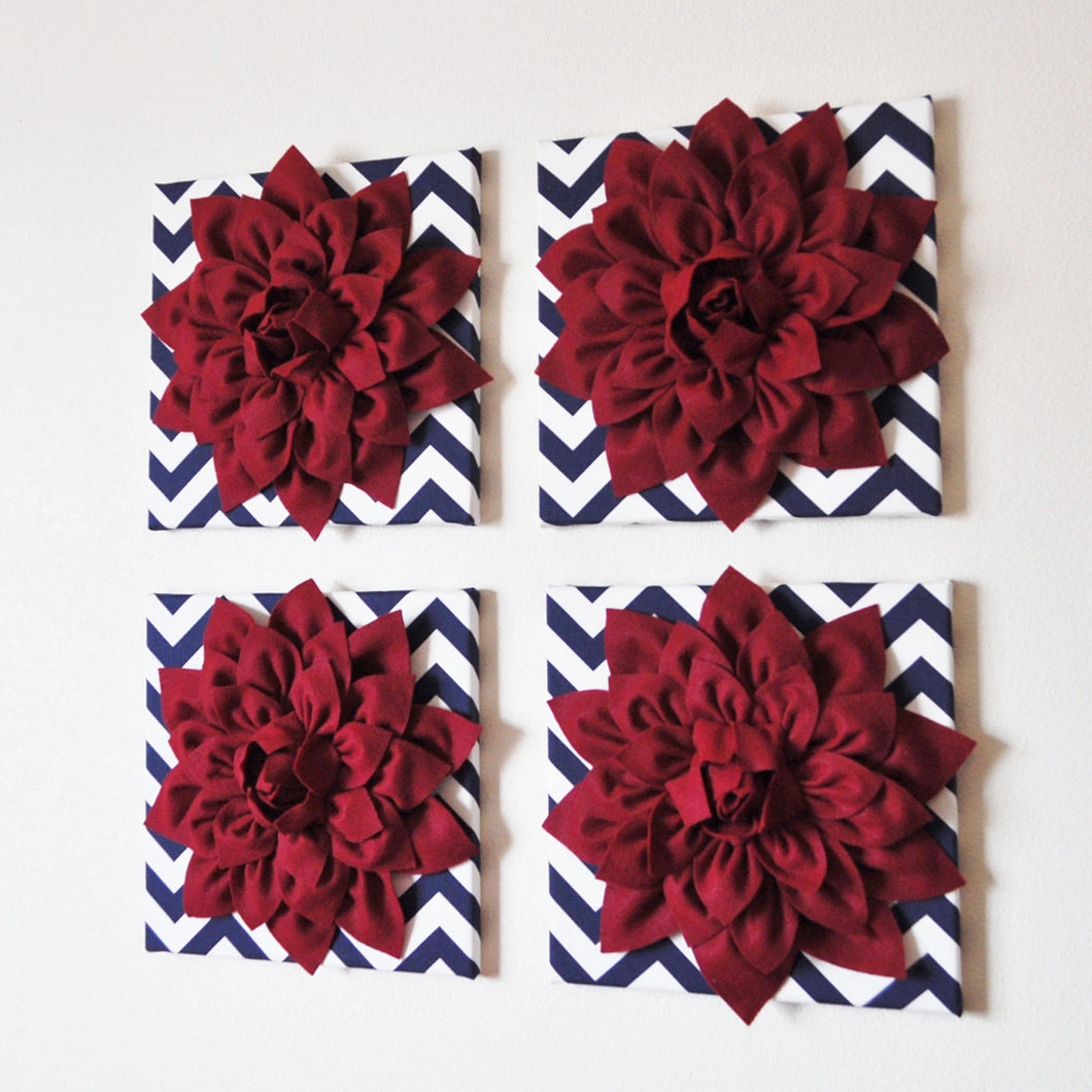 FOUR Ruby Red Dahlias on Navy and White Chevron Canvases - Daisy Manor