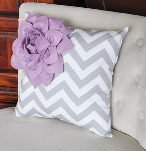 Lilac Corner Dahlia on Gray and White Zigzag Pillow 14 X 14 -Chevron Flower Pillow- Zig Zag Pillows - Daisy Manor