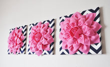 "Load image into Gallery viewer, Wall Decor -Set Of Three Pink Dahlias on Navy and White Chevron 12 x12"" Canvas Wall Art- - Daisy Manor"