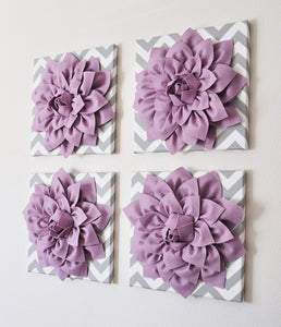 "Two Wall Flowers -Lilac Dahlia on Gray and White Chevron 12 x12"" Canvas Wall Art- Baby Nursery Wall Decor- - Daisy Manor"