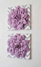 "Load image into Gallery viewer, Two Wall Flowers -Lilac Dahlia on Gray and White Chevron 12 x12"" Canvas Wall Art- Baby Nursery Wall Decor- - Daisy Manor"