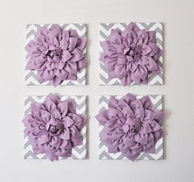 "Load image into Gallery viewer, Wall Decor -Set Of Four Lilac Dahlias on Gray and White Chevron 12 x12"" Canvases Wall Art- 3D Felt Flower - Daisy Manor"