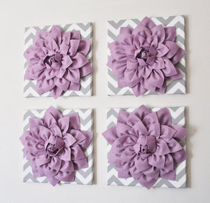 "Wall Decor -Set Of Four Lilac Dahlias on Gray and White Chevron 12 x12"" Canvases Wall Art- 3D Felt Flower - Daisy Manor"