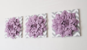 "Wall Art -Set of Three Lilac Dahlia on Gray and White Chevron 12 x12"" Canvas Wall Art - 3D Felt Flower - Daisy Manor"