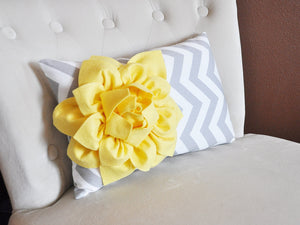 Decorative Pillow Yellow Dahlia on Navy and White Zig Zag Chevron Lumbar Pillow 9 x 16 - Daisy Manor