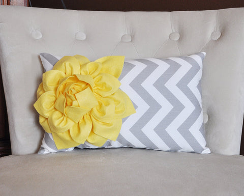 Decorative Lumbar Pillow Yellow Dahlia on Gray and White Zig Zag Chevron Lumbar Pillow 9 x 16