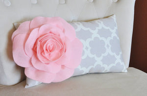 Lumbar Pillow Light Pink Rose on Neutral Gray Tarika Lumbar Pillow 9 x 16 -Lattice Trellis- - Daisy Manor