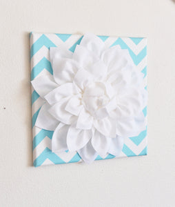 Three White Dahlia on Aqua and White Chevron Canvases - Daisy Manor