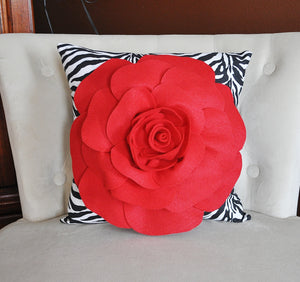 Red Rose on Zebra Pillow  14 x 14 - Daisy Manor