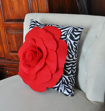 Load image into Gallery viewer, Red Rose on Zebra Pillow  14 x 14 - Daisy Manor