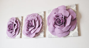 Three Lilac Rose on Neutral Gray Tarika Canvases - Daisy Manor
