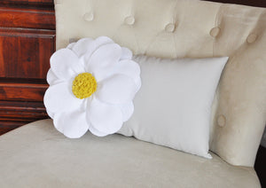 Decorative Pillow - White Daisy Flower on Light Gray Lumbar Pillow -Baby Nursery Decor- - Daisy Manor