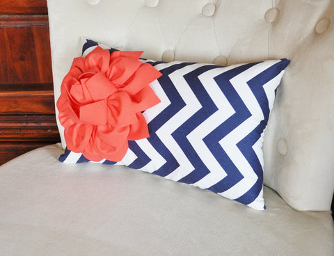 Navy Chevron Lumbar Pillow with a coral Dahlia