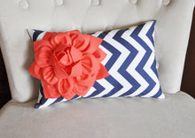 Load image into Gallery viewer, Navy Chevron Lumbar Pillow with a coral Dahlia - Daisy Manor